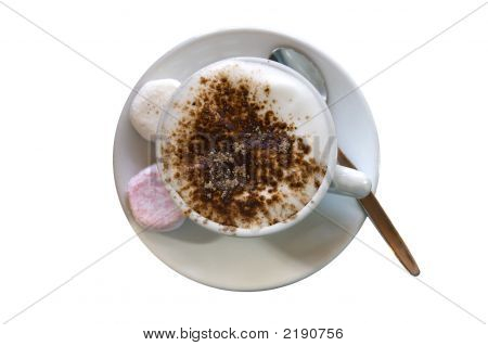 Fluffy, Hot Chocolate, Cappuccino, Coffee On White.