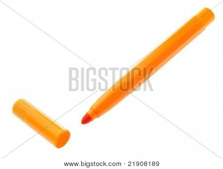 orange marker isolated on white background