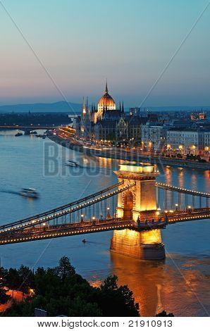 Budapest Skyline at night.