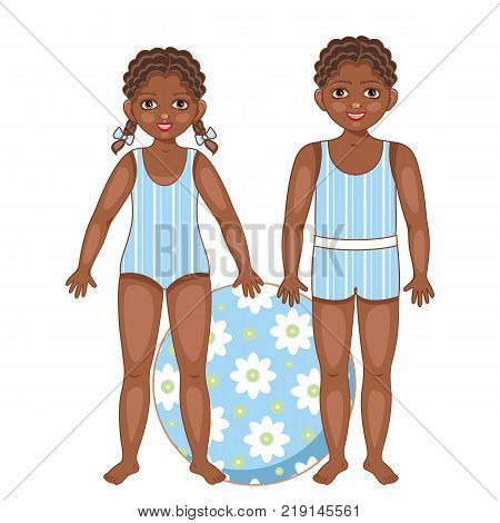 poster of Two black, African American kids, children, boy and girl in summer swimsuits with big inflatable ball, cartoon vector illustration on white background. Black, African American kids in summer swimsuits