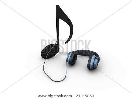 Headphones connected to a note