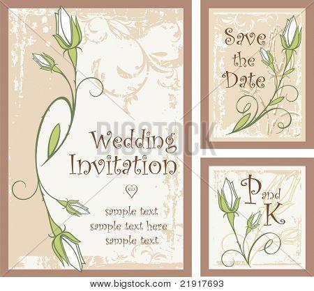 Vector conjunto de diseños ornamentales invitación con capullos de rosa. Ideal para invitaciones de boda y anunci