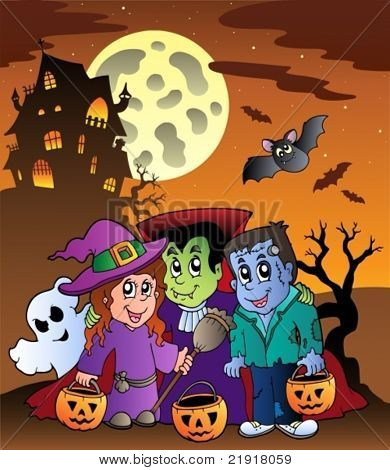 Scene with Halloween mansion 9 - vector illustration.