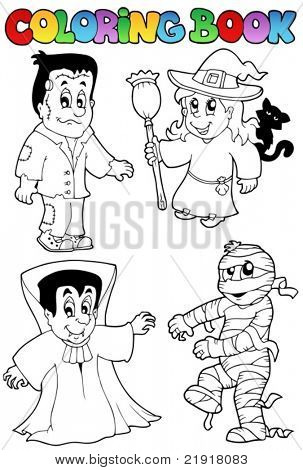 Coloring book Halloween topic 4 - vector illustration.