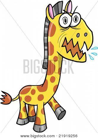 Crazy Insane Wild Giraffe Vector Illustration cartoon character