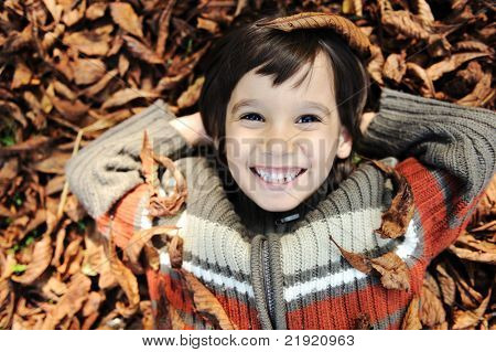 a little child playing in the autumn leaves