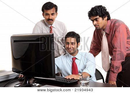 Indian young business people in office isolated on white