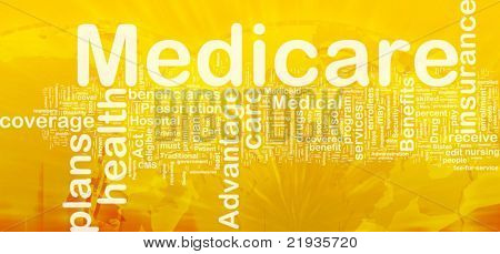 Background concept wordcloud illustration of medicare international