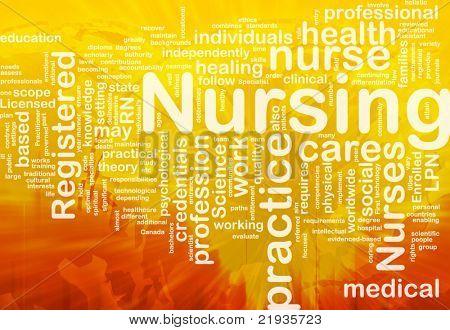 Background concept wordcloud illustration of nursing international