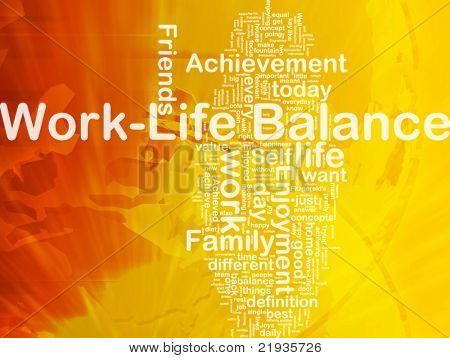 Background concept wordcloud illustration of work-life balance international
