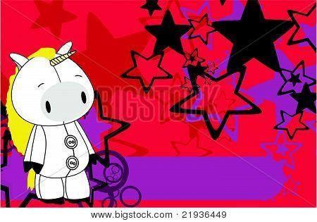 unicorn cartoon plush background
