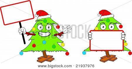 tree xmas cartoon singboard