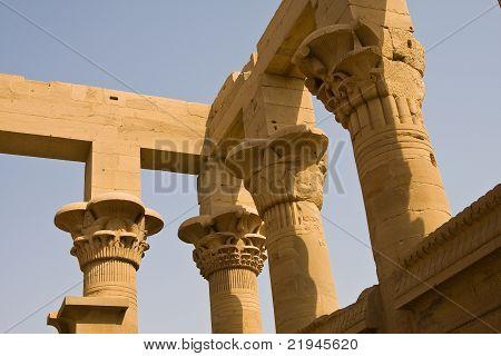 Detail of Trajan's Kiosk at Philae Temple in Aswan, Egypt
