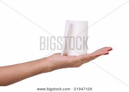 Toilet paper in hand