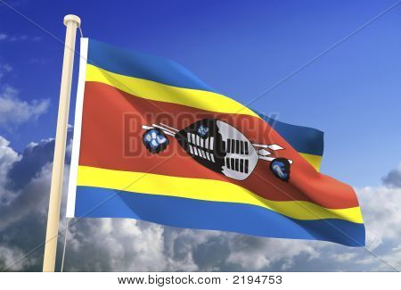 Swasiland-Flag (Clipping Path)