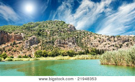 Tombs Of The Lycian Near The Dalyan River .