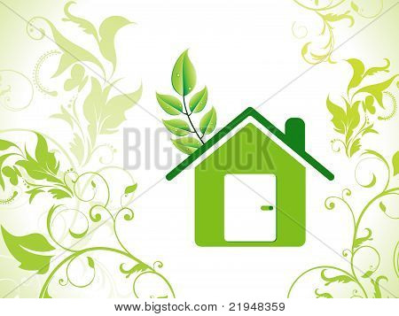 Abstract Eco Green Home Icon