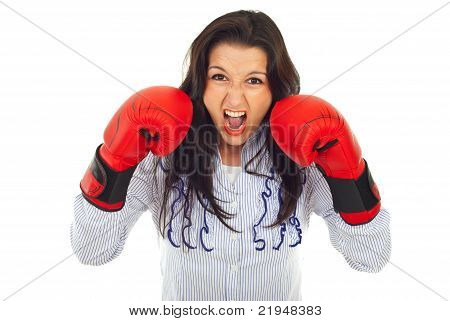 Furious Business Woman In Attack