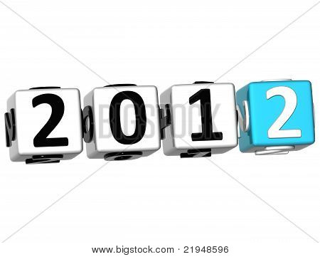 3D 2012 New Year Cube Text