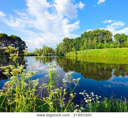 beautiful rural lake and green grassy forest on the knoll