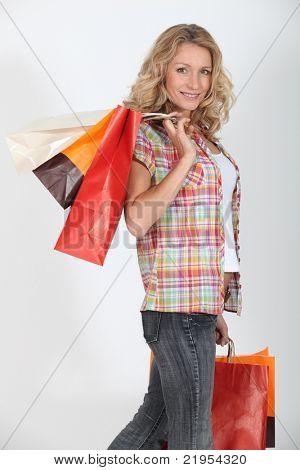 Studio shot of a female shopper