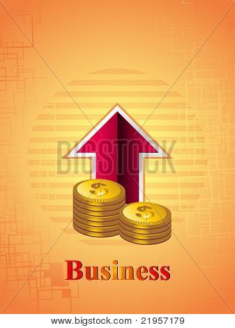 business background with isolated arrow, dollar