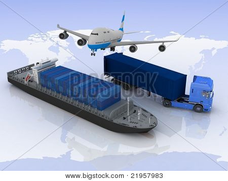 types of transport of transporting  loads on a background map of the world
