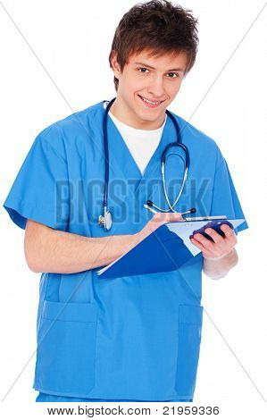 portrait of young nurse boy with notepad. isolated on white background