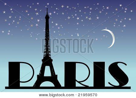 word Paris on the night background