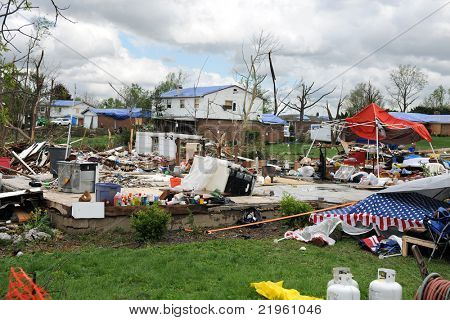 SAINT LOUIS, MO - APRIL 22:Destruction left behind by tornadoes that ravaged the area. April 22, 2011 in Saint Louis, Missouri