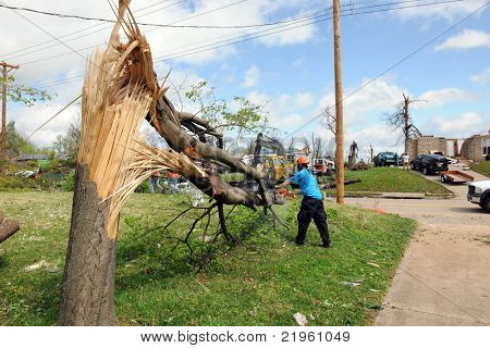 SAINT LOUIS, MO - APRIL 22: Clean up after the destruction left behind by tornadoes that ravaged the area. April 22, 2011 in Saint Louis, Missouri