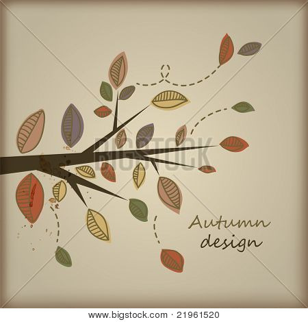Card with stylized autumn tree branch