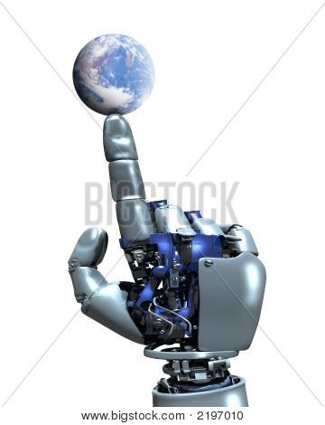 Robot Hand And Earth Globe