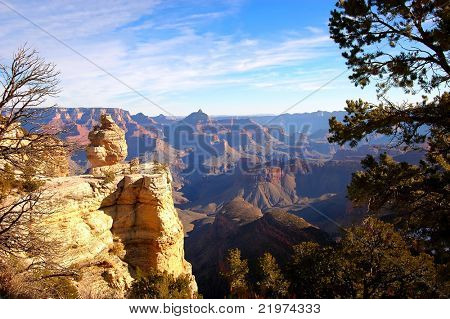 Sunlit Rock Formation at Grand Canyon National Park