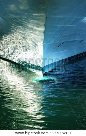 Ships Prow with reflections on the water