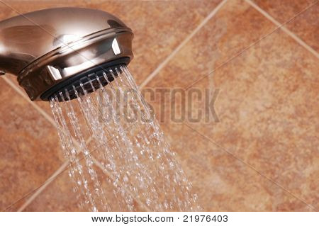 Modern Shower Head With Water Turned On