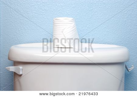 Toilet Paper Roll on Tank Lid with blue wall behind
