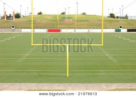 Football Stadium Viewed from the End Zone, without people.