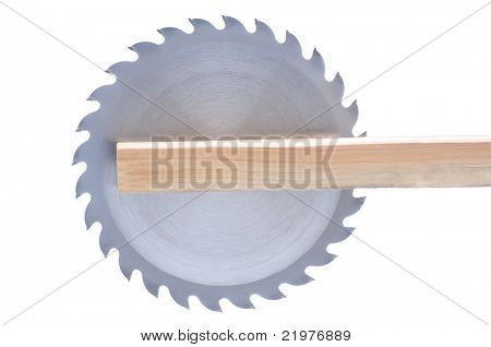 Circular Saw Blade in Board isolated over white