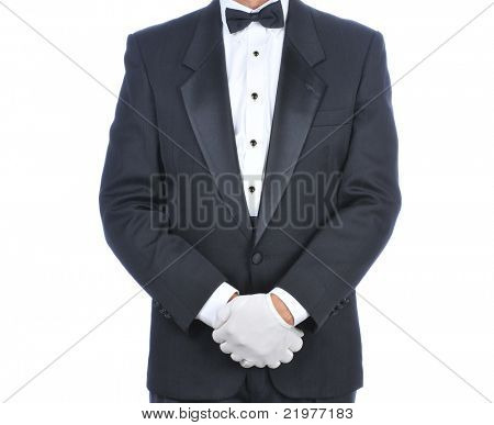 Man Wearing a Tuxedo with His Hands in Front of Body - Torso only isolated on white
