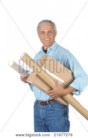 Smiling Deliveryman with Parcels isolated over white