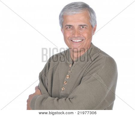 Middle Aged  Male Wearing Green Sweater With His Arms Folded isolated on white