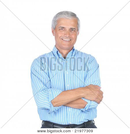 Middle Aged  Businessman Wearing Striped Blue Shirt With His Arms Folded isolated on white