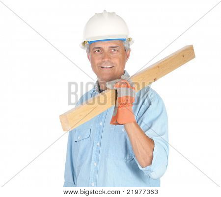 Middle Aged Construction Worker Carrying Board over Shoulder isolated on white