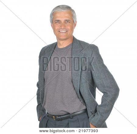 Casual Middle Aged Businessman in Tee Shirt and Jacket with hands in pockets isolated on white