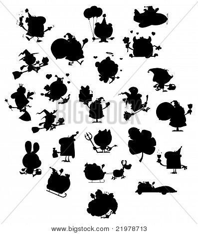 Cartoon Black Silhouettes
