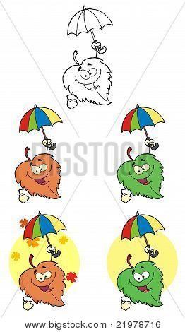 Leaf Cartoon Character With Umbrella