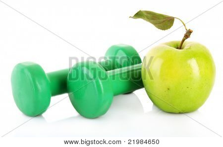 Two green dumbbells isolated on white