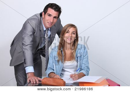 Businessman helping with homework