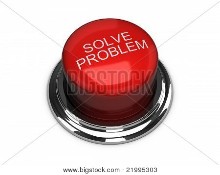 Solve The Problem Button. Isolated On The White Background